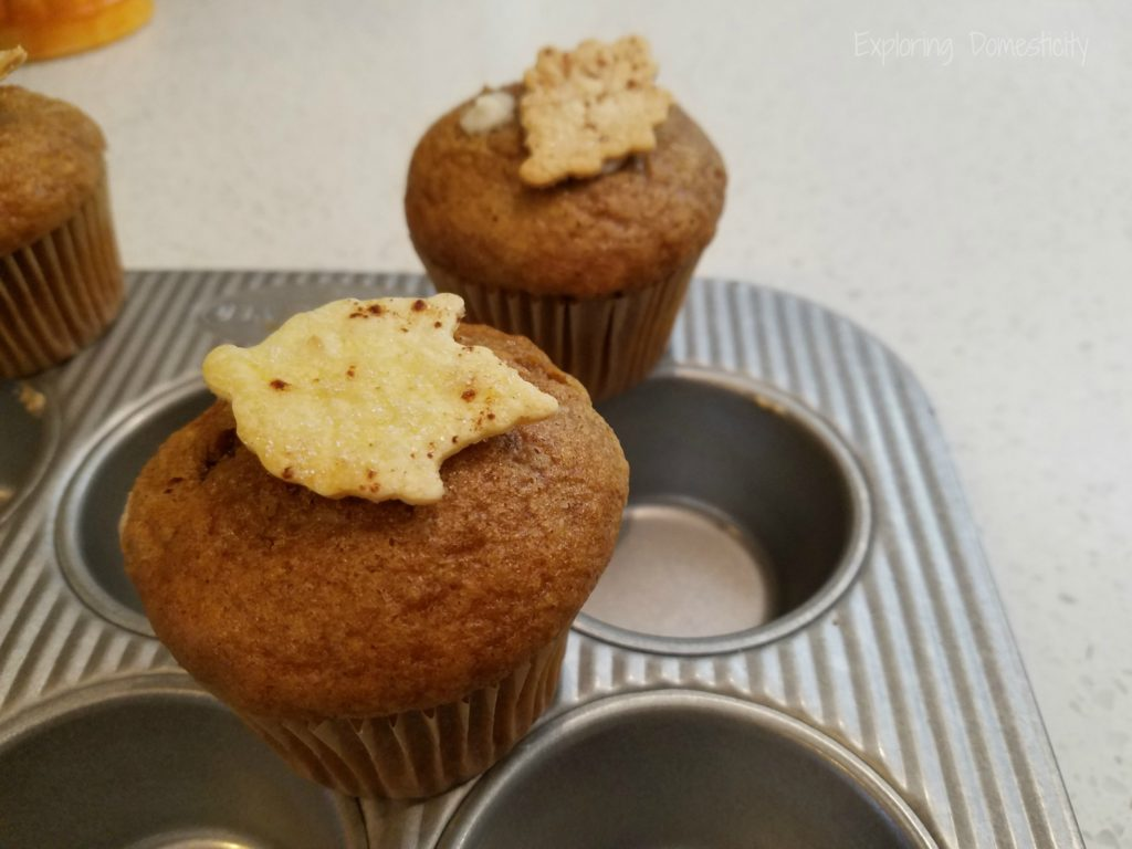 Fall Pumpkin Spice Muffins with Cinnamon Sugar Leaves