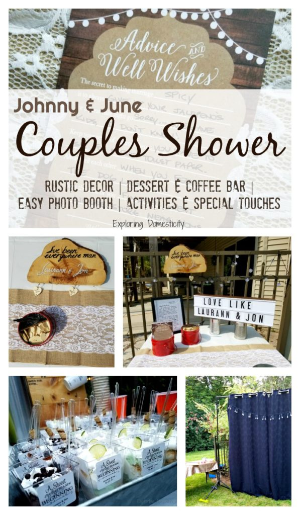 Johnny and June Couples Shower - rustic decor, dessert and coffee bar, easy photo booth, activities and special touches