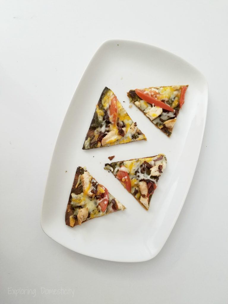 Balsamic Onion Pesto Pizza - easy, delicious, flavorful pizza on a flat wrap