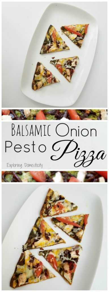 Balsamic Onion Pesto Pizza - sweet onions, flavorful pesto, chicken, tomatoes, and cheese - yum!