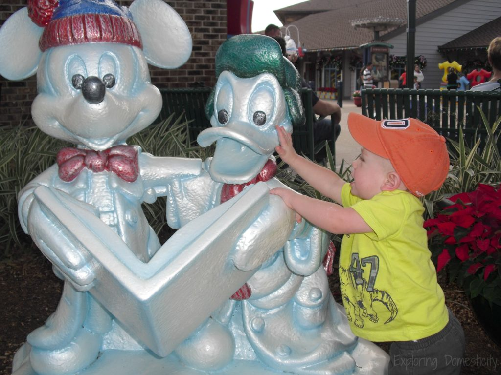 Disney World during Christmas - holiday decorations all over the place! Snow Mickey and Donald