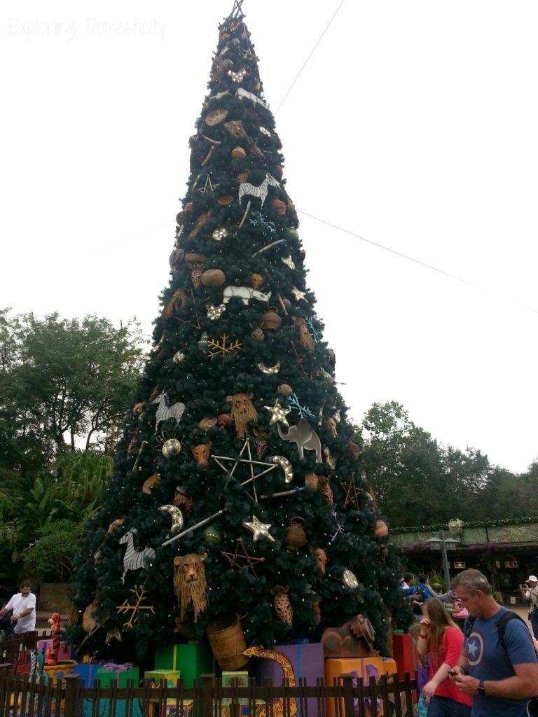 Disney World during Christmas - holiday decorations at Animal Kingdom