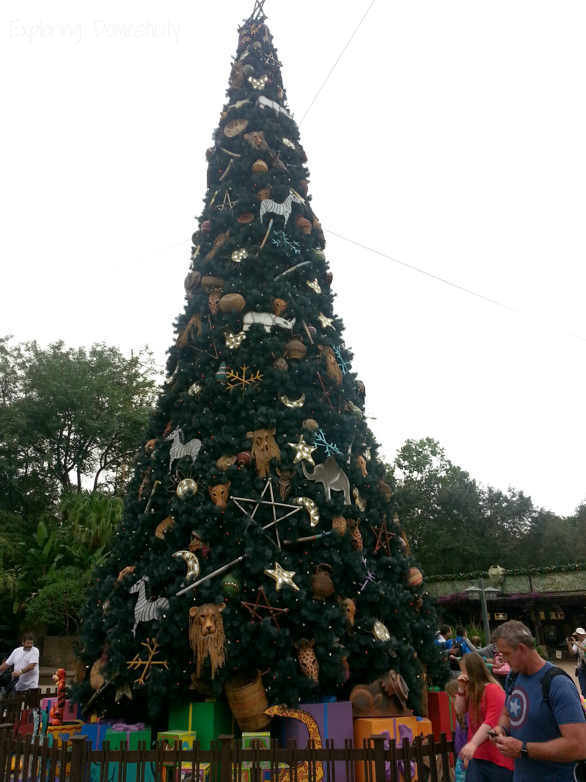 disney world during christmas holiday decorations at animal kingdom - Disney World Christmas Decorations 2017