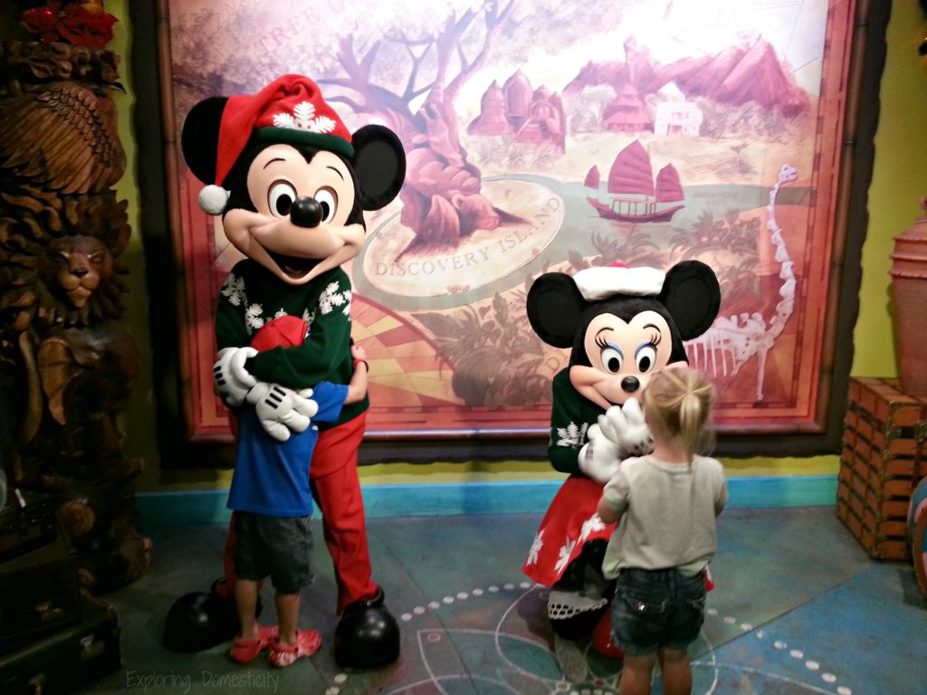 Disney during Christmas - characters dressed up for the holidays - Christmas Mickey and Minnie
