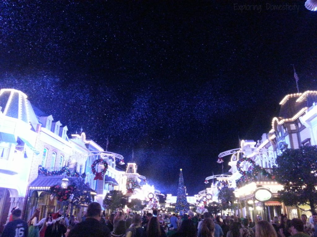 Walt Disney World during Christmas - Mickey's Very Merry Christmas Party with snow on Main Street