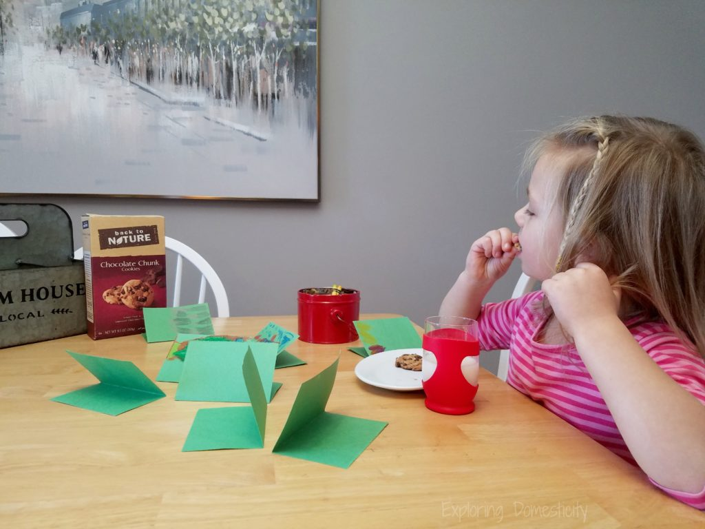 Making Christmas cards with Back to Nature chocolate chunk cookies