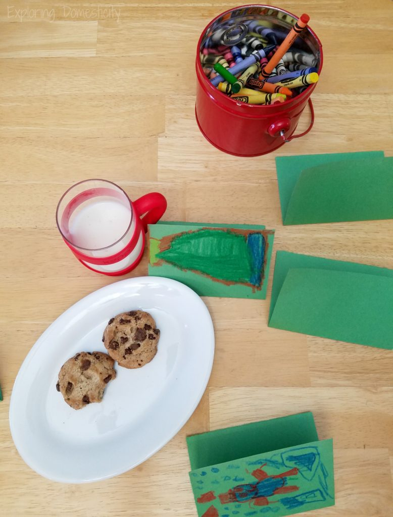 Making Christmas cards with cookies and milk and people not to forget when sending Christmas cards
