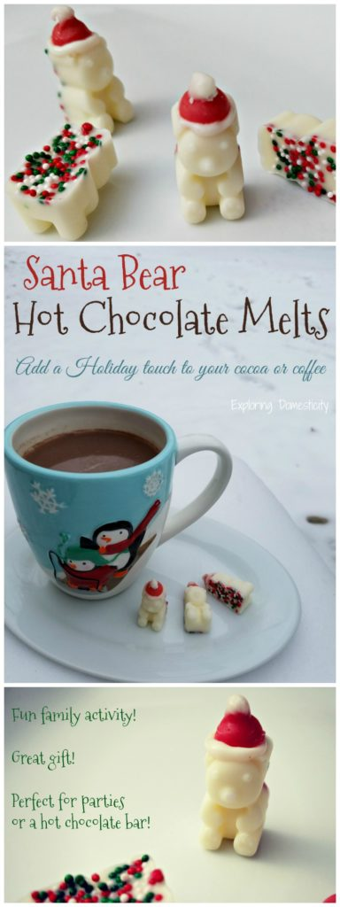 Santa Bear Hot Chocolate Melts - add a holiday touch to your cocoa or coffee. Fun family activity, great gift, perfect for parties or a hot chocolate bar