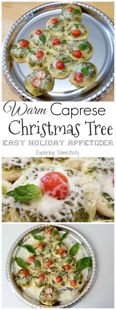 Warm Caprese Christmas Tree - Easy Holiday Appetizer with a cute pull-apart Christmas Tree