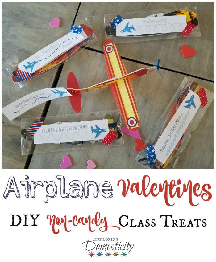 Airplane Valentines - Fun DIY Non-Candy Class Treat with cute airplane sayings