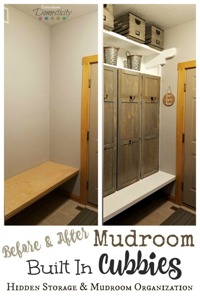 Before and After Mudroom Built in Cubbies - Hidden Storage and Mudroom Organization