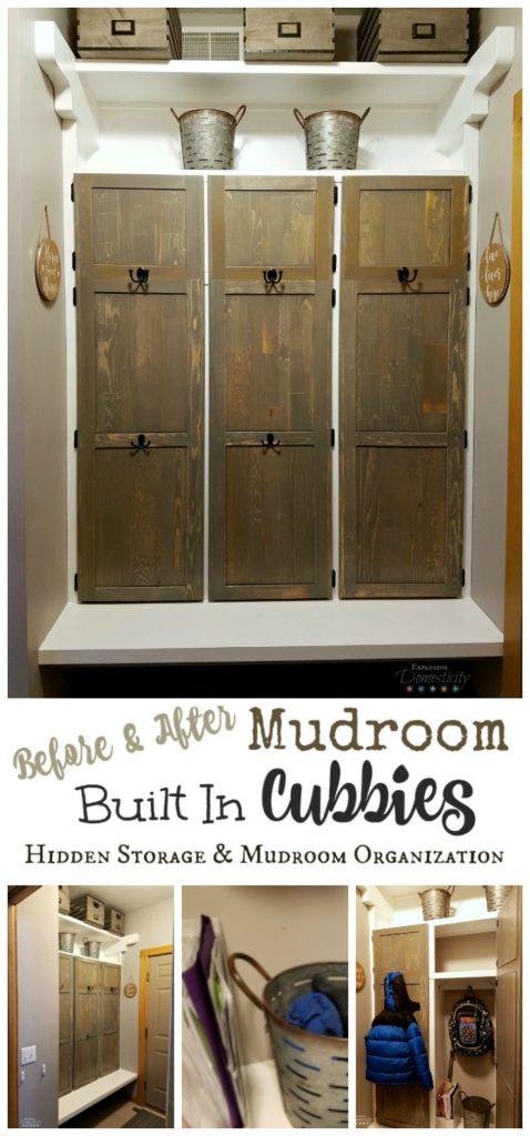 Mudroom Built In Cubbies - Hidden Storage and Mudroom Organization