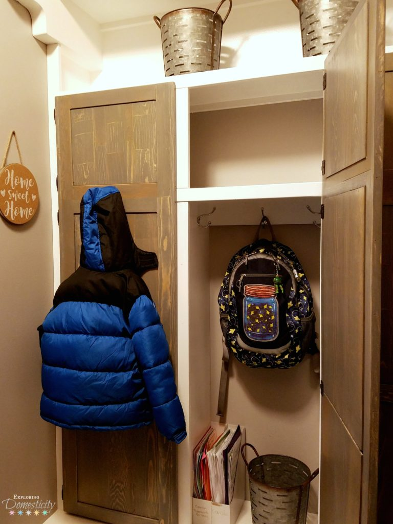 Mudroom Built In Cubbies with hidden storage and organization