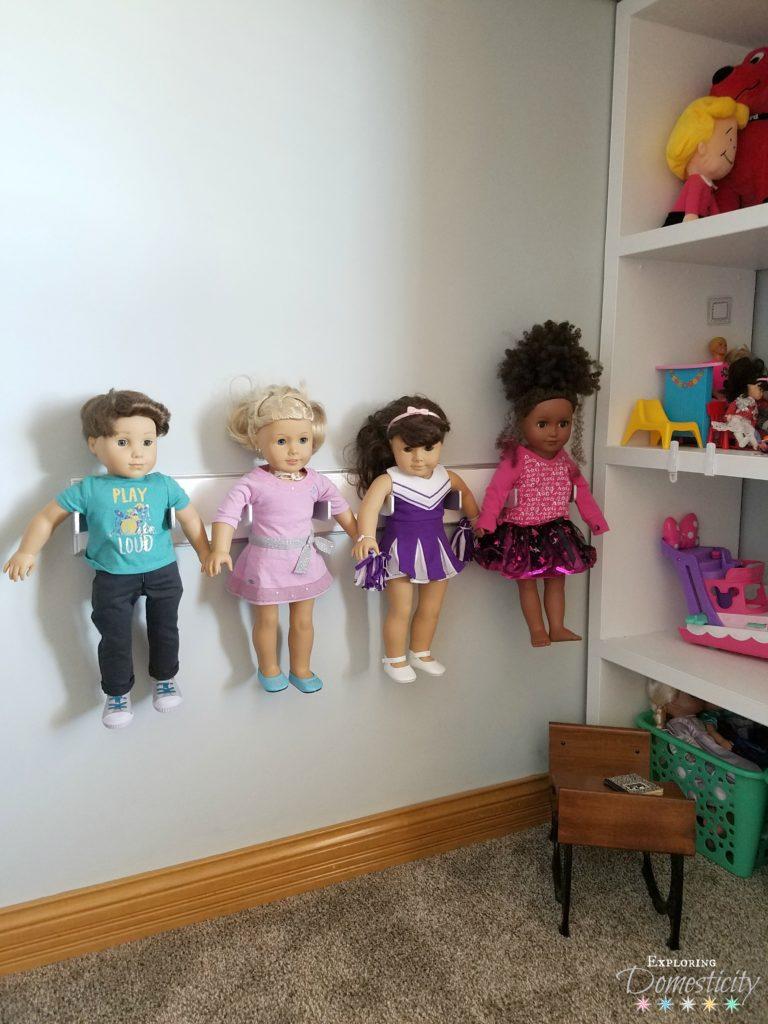 DIY American Girl Doll Holder - keep 18 inch dolls organized and displayed