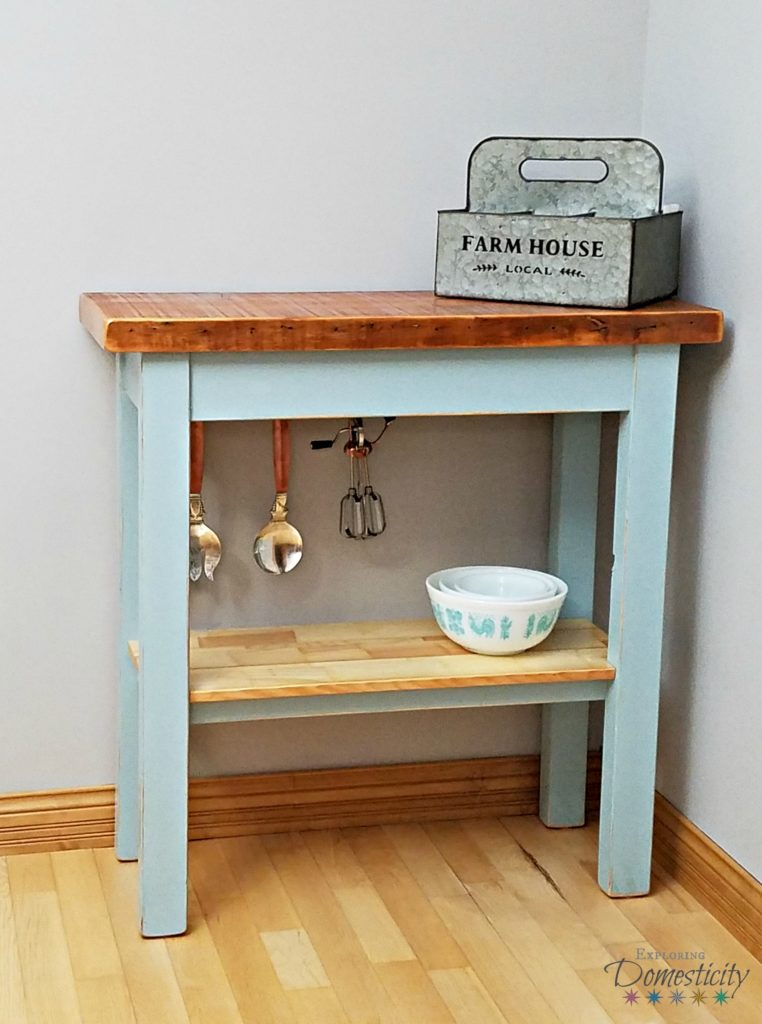 Farmhouse tables - simple design with reclaimed wood and distressed blue paint