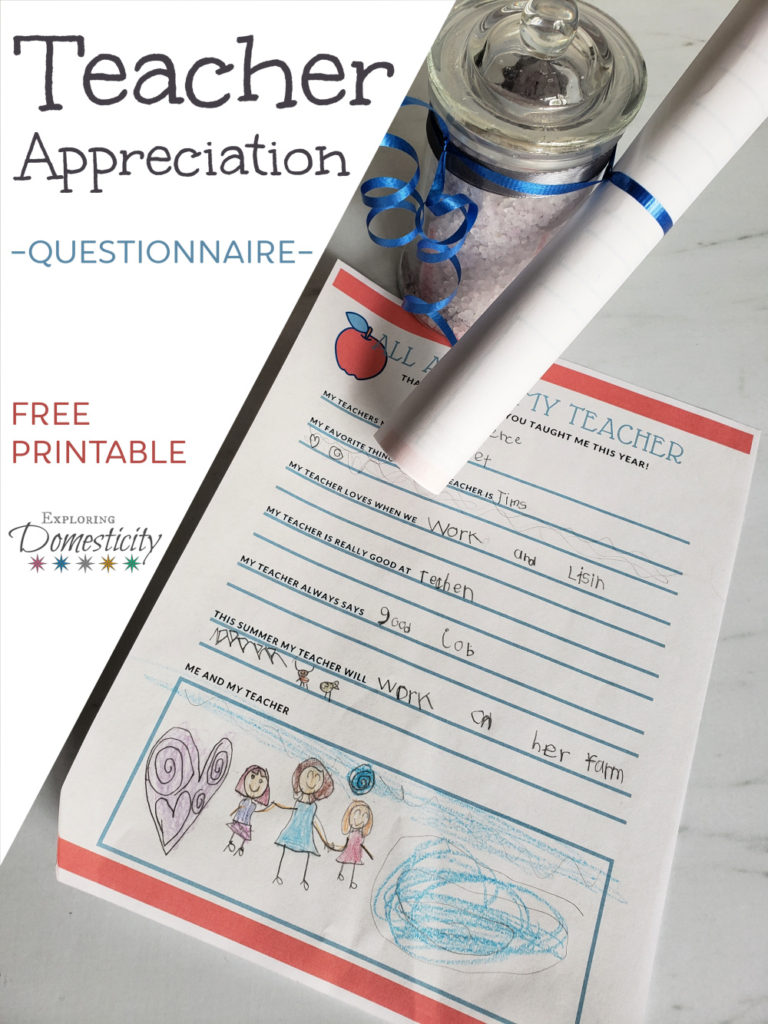 photograph about All About My Teacher Free Printable titled Instructor Appreciation Questionnaire - All Regarding My Instructor