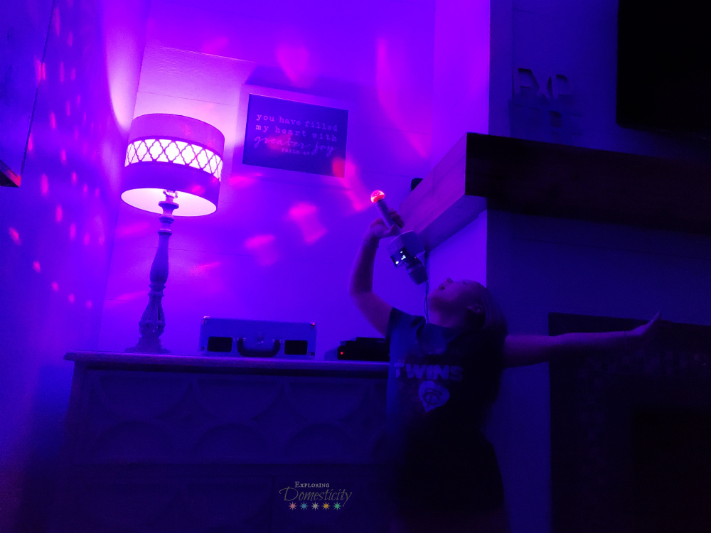 dance party with colored lights and karaoke mic to get silly with your kids